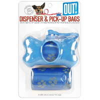 Out! Blue Bone Dispenser and Waste Pick up Bags