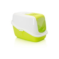 "Savic Nestor Cat Toilet White/Lemon Green 22"" x 15.5"" x 15"""