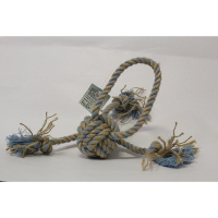 Cotton Ball with Tug- 30 cms-Blue and Jute